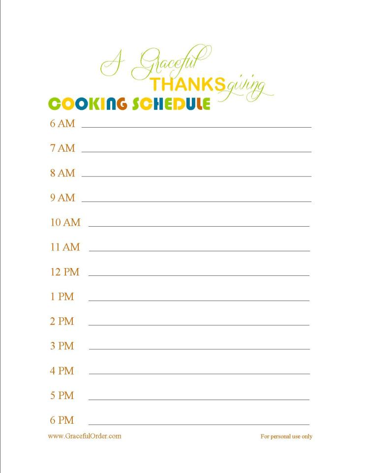 THANKSGIVING COOKING SCHEDULE